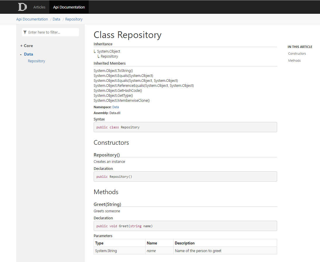 Use DocFx to document your existing  Net application